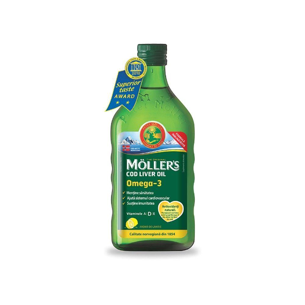 Ulei din ficat de cod Omega 3 cu aroma de Lamaie - Moller s , ml (Adjuvante) - consilier-dezvoltare-personala.ro